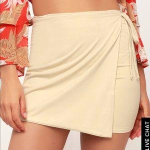 Suede light beige skirt, Size large